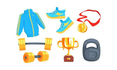 Sport Accessories Isolated On White Background Vector Set Stock Illustratie