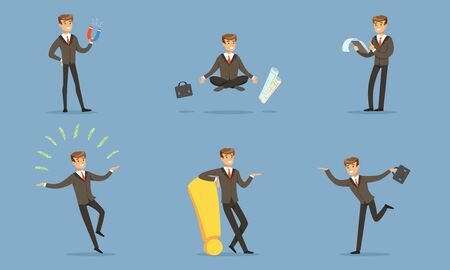 Successful Manager In A Business Suit Doing The Daily Work In The Office Vector Illustration Set Isolated On Blue Background Ilustrace