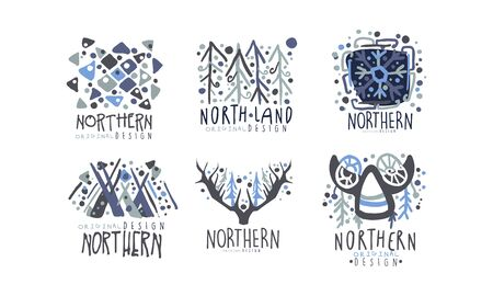 Northern Land Label Template with Original Design Vector Set 版權商用圖片 - 133902343