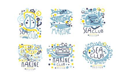 Hand Drawn Marine Labels  Original Design Vector Set Reklamní fotografie - 133902487