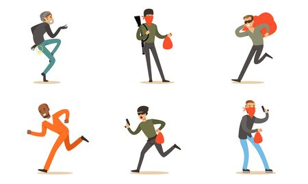 Masked Criminal Characters, Prisoner, Burglar And Terrorist With Booty And Guns Vector Illustration Set Isolated On White Background