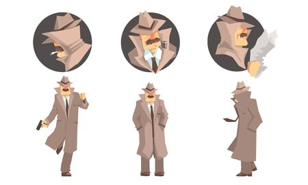 Old Private Detective With Mustache In Different Poses Vector Illustration Set Isolated On White Background