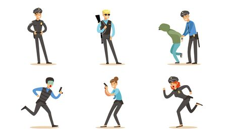 Police Characters In Daily Dangerous Work Vector Illustration Set Isolated On White Background Stock Illustratie