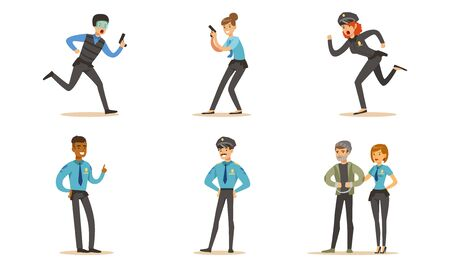 Men And Women Police Characters In Different Poses And Actions Vector Illustration Set Isolated On White Background