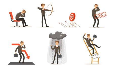 Erfolgloser Geschäftsmann in Anzug und Misserfolgen bei der Arbeit Vektor-Illustration-Set isoliert auf weißem Hintergrund
