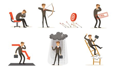 Unsuccessful Businessman In Suit And Failures In Work Vector Illustration Set Isolated On White Background Illustration