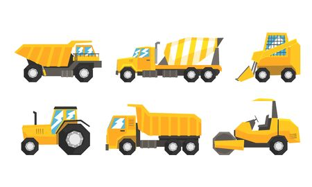 Set Of Industrial Transport Using On Road Or Constructive Works Flat Vector Illustration