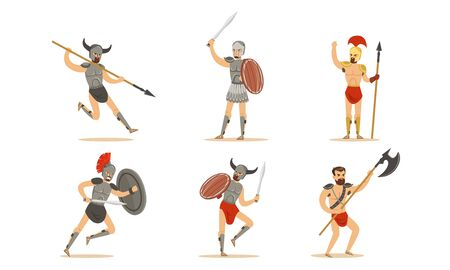 Roman Ancient Warrior Character In Armor In Different Actions Vector Illustration Set Isolated On White Background Illusztráció