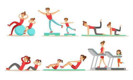 Parents With Kids Doing Fitness Exercises Together Vector Illustration Set Isolated On White Background