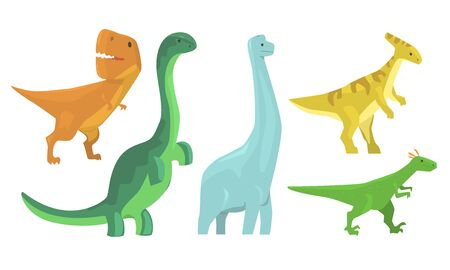 Animated Dinosaurus Of Different Types Vector Illustration Set Cartoon Character
