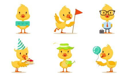Pretty Animated Chickens In Different Actions Vector Illustration Set Cartoon Character
