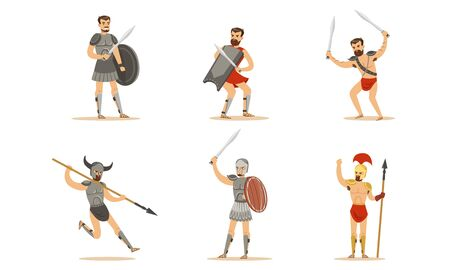 Gladiator The Armed Combatant Of Roman Empire Vector Illustration Set Isolated On White Background
