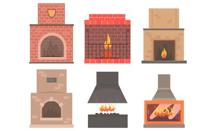 Set Of Different Kinds Of Fireplaces Flat Vector Illustration