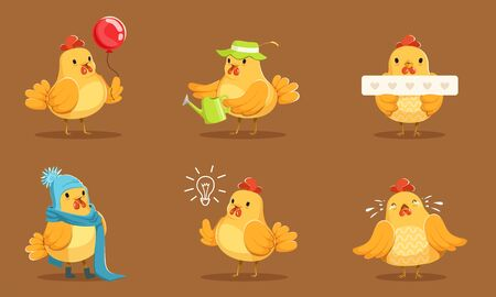 Animated Yellow Chickens In Different Poses Vector Illustration Set Cartoon Character  イラスト・ベクター素材
