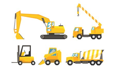 Industrial Kinds Of Transport Using On Road Or Constructive Works Flat Vector Illustration Set