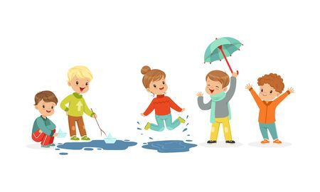 Smiling Little Kids Jumping and Sailing Toy Boats Vector Illustration Ilustracja