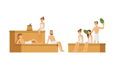 People Characters Spending Time in Sauna Vector Illustrations  イラスト・ベクター素材
