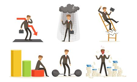 Manager In Suit With Tie, Business Failures And Losses Vector Illustration Set Isolated On White Background Standard-Bild - 134436952