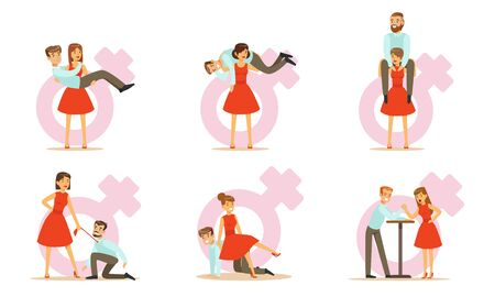 Females In Modern Society, Woman Exchanging Places With Man And Dominating Him Vector Illustration Set Isolated On White Background 向量圖像