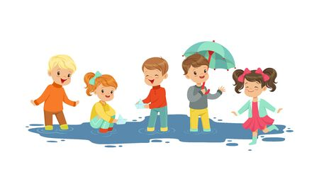 Smiling Little Kids Sailing Toy Boats Vector Illustration