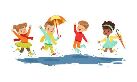 Smiling Little Kids Jumping in a Puddle in Rainy Day Vector Illustration