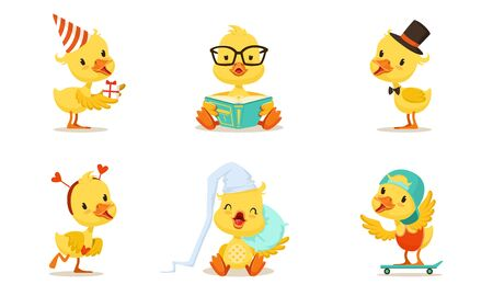 Set Of Cute Animated Chickens In Different Poses Vector Illustration Cartoon Character Vettoriali