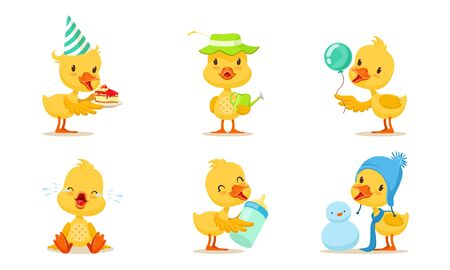 Set Of Animated Chickens In Different Poses Vector Illustration Cartoon Character