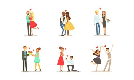 Couples On Dates Vector Illustrations Set. Young Man and Woman Embracing Each Other Vectores