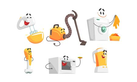 Cartoon Smiling Household Appliances Doing Something Vector Set