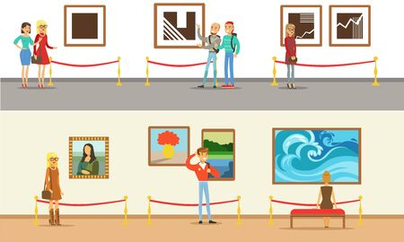 Museum Visitors Taking Museum Tour With And Without Guide Vector Illustrations