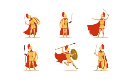 Gladiators Holding Swords Vector Set. Fighting Characters in Action Poses Illusztráció