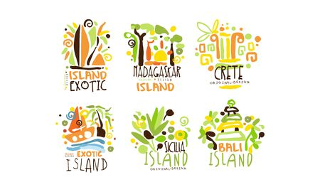 Exotic Countries Labels Design Vector Set. Tropic Travel Destination Collection