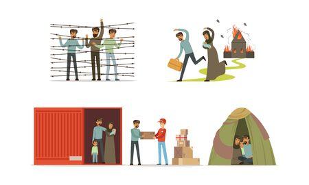 Réfugiés fuyant leur pays en direction du pays d'accueil