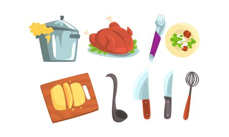 Cooking Process Vector Illustrated Set. Kitchenware and Served Dishes Collection  イラスト・ベクター素材