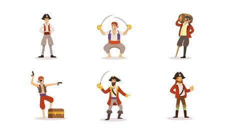 Pirate Characters Posing in Different Situations Vector Illustrations