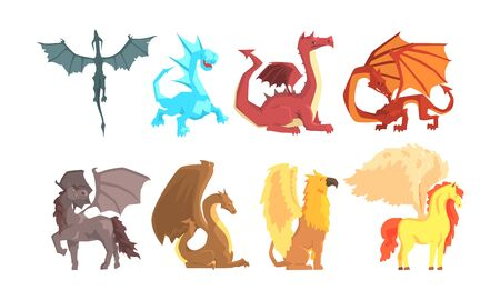 Fantastic Mythological Creatures and Beasts Vector Set Banque d'images - 134437595