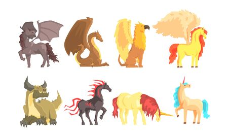 Fantastic Mythological Creatures and Beasts Vector Set Banque d'images - 133981286
