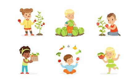 Little Kids Sitting on Garden-Bed Playing with Vegetables Vector Set 向量圖像