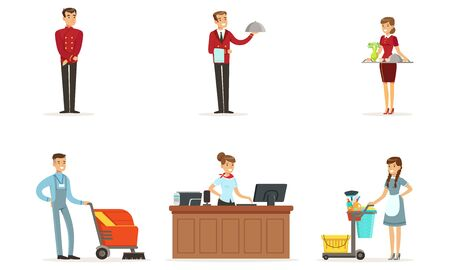 Hotel Staff Vector Set. Man Working as Waiter and Administrator Çizim