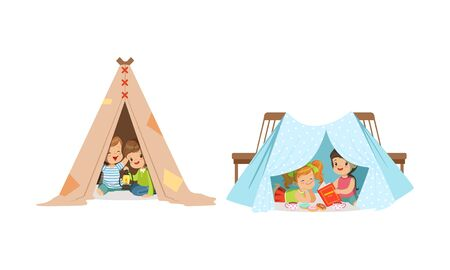 Little Children Sitting and Playing in Handmade Tent At Home Vector Set Ilustracja