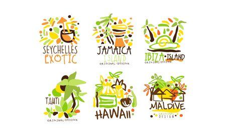Exotic Countries Labels Design Vector Set. Tropic Travel Destination Collection