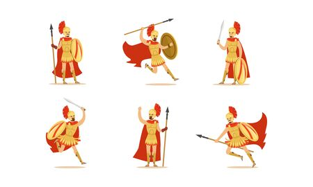 Gladiators Holding Swords Vector Set. Fighting Characters in Action Poses Illustration