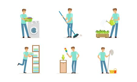 Handsome Young Man Occupied with Household Vector Illustrations