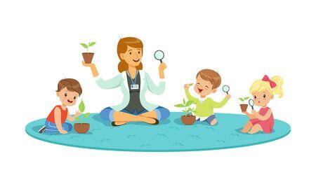 Enfants ayant une leçon de botanique. enseignant, démonstration, plante, vecteur, illustration