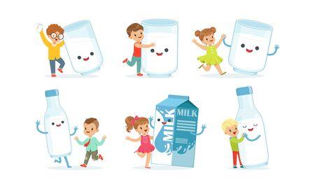 Little Children Having Fun with Big Carton of Milk Vector Set
