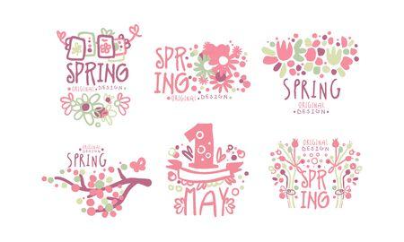 Tender Spring Labels and Logos with Original Design Concept Vector Set Foto de archivo - 134437905