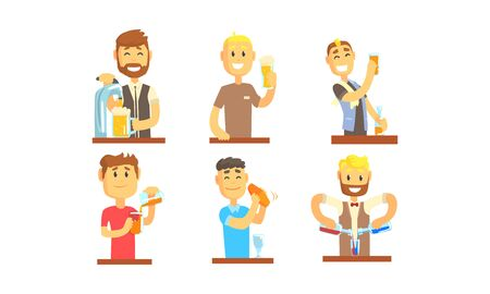 Barman Mixing and Pouring Alcoholic Beverages Vector Illustrations Ilustração