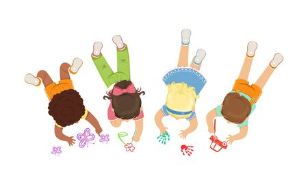Cute Little Kids Lying on the Floor Drawing Pictures Vector Illustration Illustration