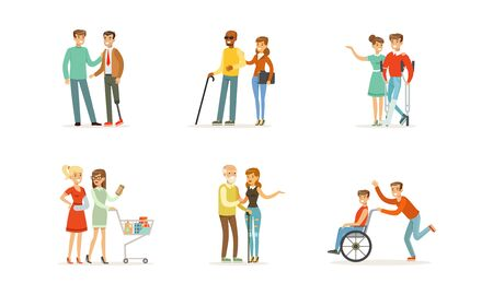 Disabled and Old People and Friends Helping Them Vector Illustrations
