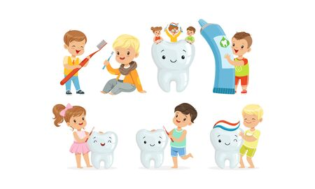 Little Kids Taking Care of Tooth Purity Brushing it With Toothbrush Vector Illustrations Set Фото со стока - 134438756